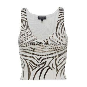 Topshop ribbed Knit metallic zebra print top